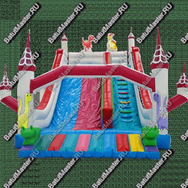 Уличный надувной батут-горка «Замок Динозавра»