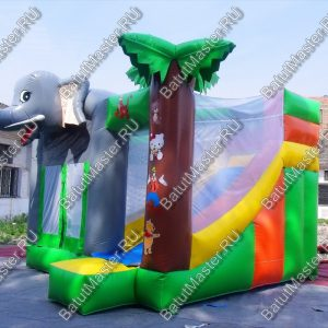 Коммерческий надувной батут «Слоник» с крышей, размер 5*5*4 м