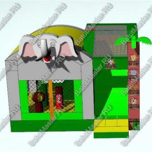 Коммерческий надувной батут «Слоник» с крышей, размер 5х5х4 м.