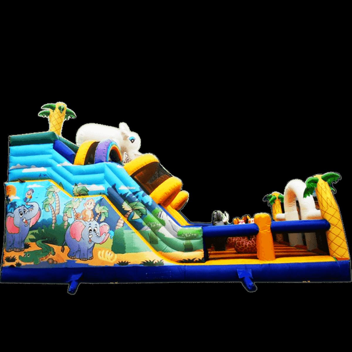 Коммерческий надувной батут «Слоник с двумя переходами»