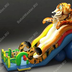 Высокая надувная горка «Зеленоглазый тигр»