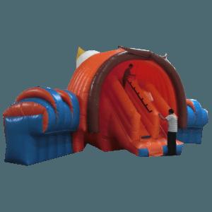 Коммерческий надувной батут с крышей «Рожок»
