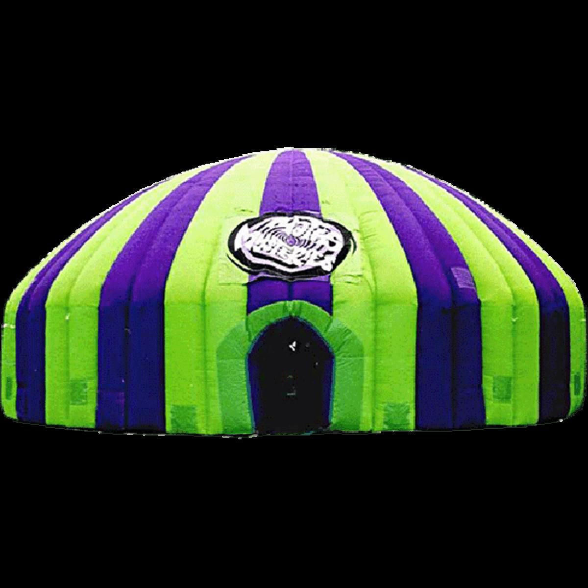 надувной шатер полосатый