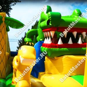 """Надувной батут """"Мульти-сафари крокодил"""", размер 11*10*7 м"""