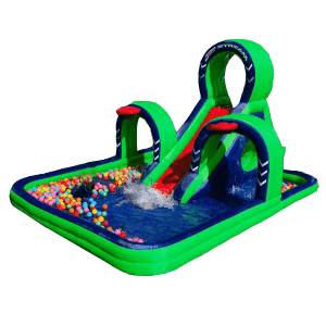 Надувной водный батут с бассейном «Водные кольца», размер 5.5*3.5*2.5 м