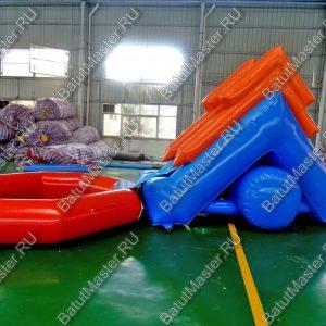 """Надувная водная горка """"Пляжная"""", размер 6.5x3x2.5 м., без подкачки, бассейн диаметром 3 м."""