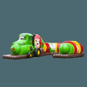Коммерческий надувной батут «Тоннель Веселый поезд», размер 8*5*2.6 м