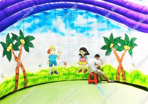 Ручное рисование на надувном батуте