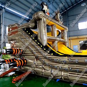 """Надувной корабль """"Пират Черная Борода"""", размер 15*4*5 м"""