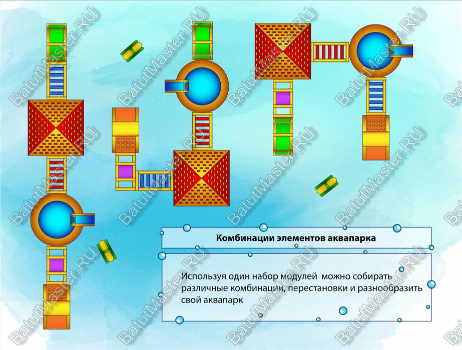 Комбинация элементов аквапарка