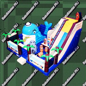 """Надувной батут """"Акула и пираты"""", 11*11*8 м"""