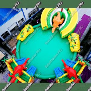 """Надувной батут с бассейном """"Озеро динозавров"""", размер 23*23*5.5 м"""