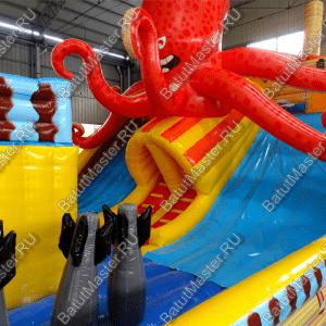 """Надувной батут """"Корабль с осьминогом"""" 16-9-7 м"""